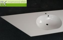 Dvojumyvadlová deska Flexible 60 s úkosem_219,5 x 55cm_2x umyvadlo Mango