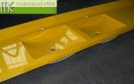 ME sro_umyvadlova deska Flexible50_2 x ARCTIC_zluta RAL 1021_Waschtisch auf Mass_2x ARCTIC Becken_Foto vom Kunde