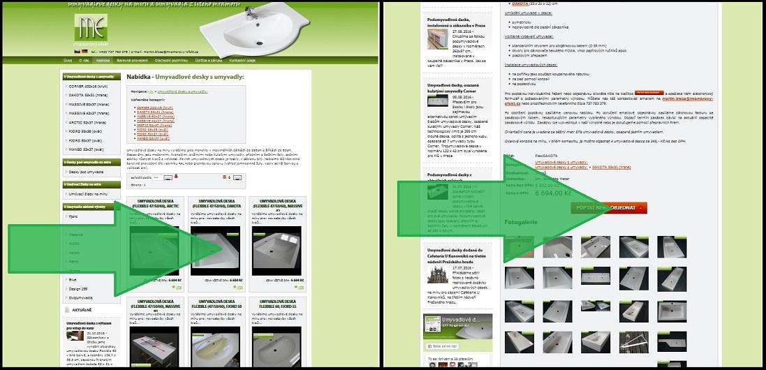 Klikněte na položku výrobku, poté na poptávkový/objednávkový formulář