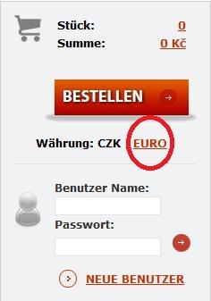 Waehrung CZK-EUR zu waehlen