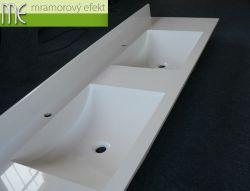 Dvojumyvadlová deska na koupelnovou skříňku, s umyvadly ARCTIC a 10 cm zadním soklíkem