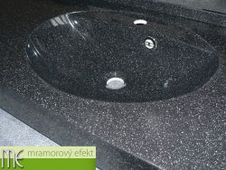 Umyvadlová deska - černý granit obsidian