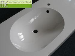 Bílá umyvadlová deska Flexible 60, 180x50 cm, umyvadlo MANGO 52x37