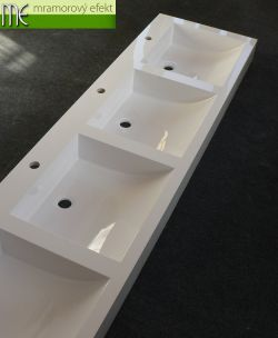 Čtyřumyvadlová deska s hranatými umyvadly massive