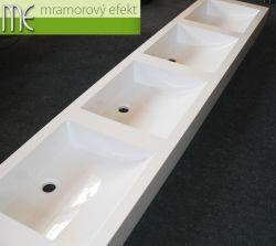 Čtyřumyvadlová deska s hranatými umyvadly Massive42 pro klienta z Prahy