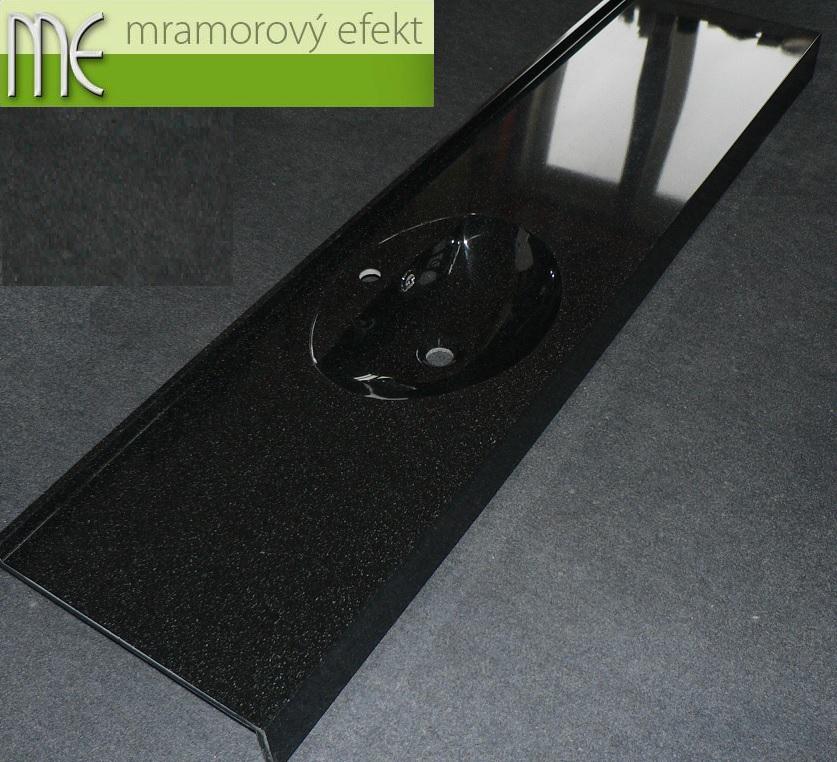 Umyvadlová deska Flexible 47, granit obsidian, oválné umyvadlo Fjord50