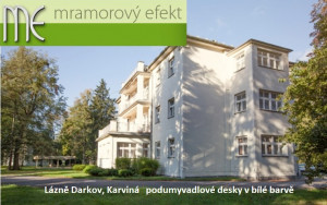 Lázně Darkov (Karviná) - bílé desky pod umyvadla ve Společenském domě